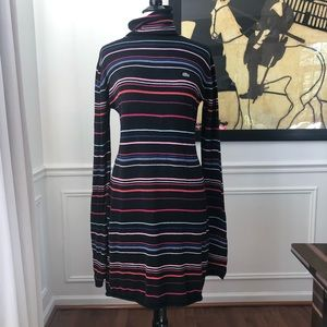 Lacoste Turtleneck Knit Dress Stripe 44 XL 12